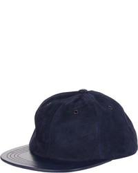 Baja East Suede Leather Baseball Cap Blue