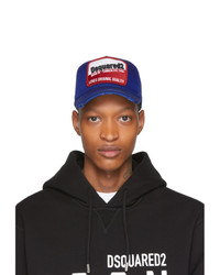 DSQUARED2 Blue Distressed Born In Canada Baseball Cap