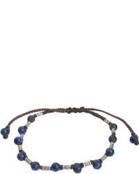 Jan Leslie Sterling Silver Rivet Lapis Bead Bracelet