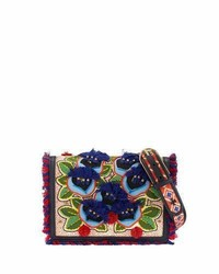 Tory Burch Embroidered Floral Flap Crossbody Bag Naturalredblue