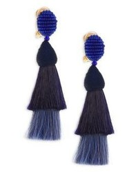 Oscar de la Renta Beaded Horse Hair Tassel Clip On Earrings