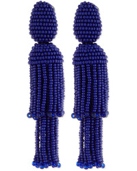 Oscar de la Renta Two Tiered Beaded Tassel Clip On Earrings