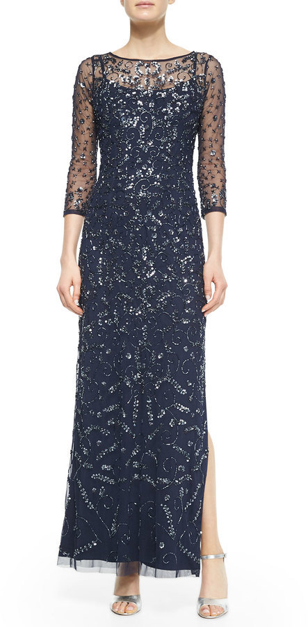 Aidan Mattox 34 Sleeve Sequined Beaded Column Gown | Where to buy ...