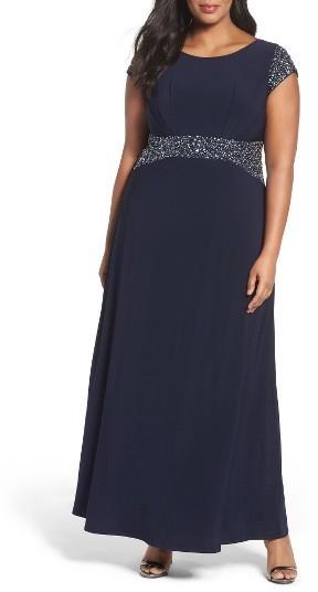 Alex Evenings Plus Size Women\'s Alex Evenings Beaded A-Line Gown ...