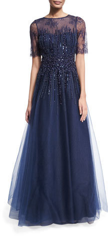 Rickie Freeman For Teri Jon Beaded Lace Tulle Gown