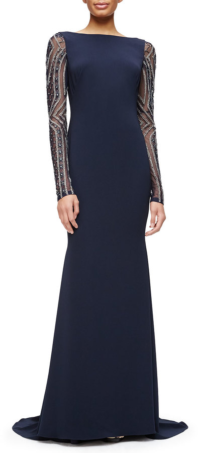 1090 Badgley Mischka Beaded Long Sleeve Gown