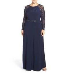 Plus size beaded a line jersey gown medium 1183507