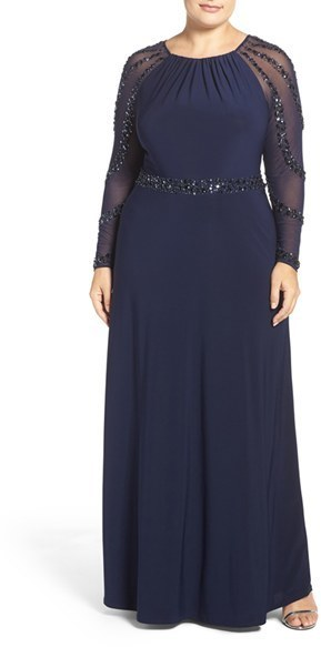 $219, Marina Plus Size Beaded A Line Jersey Gown