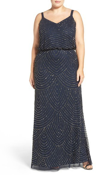 Adrianna Papell Plus Size Beaded Blouson Gown Where To Buy How