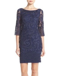 Aidan Mattox Beaded Mesh Sheath Dress