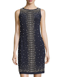 Chetta B Beaded Sleeveless Sheath Dress Navy