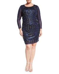 Marina Plus Beaded Sheath Dress Navy Plus Size