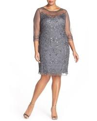 e02e75bdee7 ... Pisarro Nights Plus Size Illusion Neck Beaded Shift Dress ...