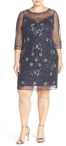$188, Pisarro Nights Plus Size Illusion Neck Beaded Shift Dress