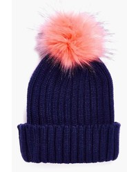 Boohoo Anya Contrast Faux Fur Pom Beanie Hat