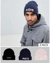 Analog Beanie 3 Pack In Blacknavypink