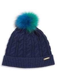 Burberry Cable Knit Wool Cashmere Fox Fur Beanie