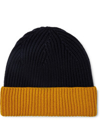 Altea Colour Block Ribbed Virgin Wool Beanie