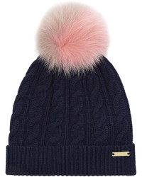 Burberry Fur Pompom Wool And Cashmere Blend Hat