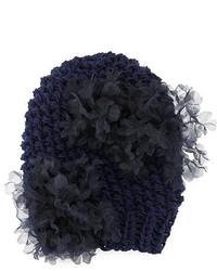 Gigi Burris Bloom Knit Beanie Hat With Organza Flowers