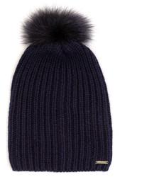Woolrich John Rich Bros Fur Pompom Cashmere Beanie Hat