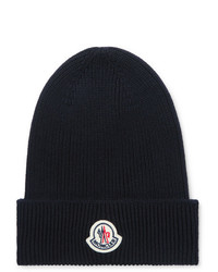 Moncler Logo Appliqud Ribbed Wool Beanie
