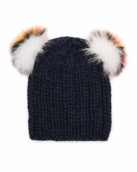 Eugenia Kim Mimi Knit Beanie Hat Wfur Pompoms Navy