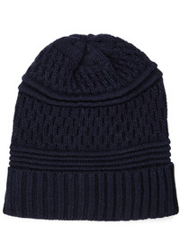 Neiman Marcus Mix Stitch Beanie Hat Navy