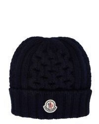 Moncler Mixed Knit Beanie Blue