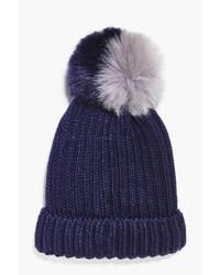 Boohoo Mya Two Tone Faux Fur Pom Beanie Hat