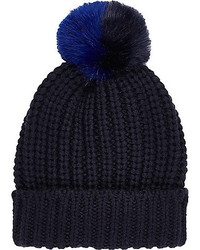River Island Navy Knitted Pom Pom Beanie Hat