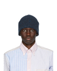 Drakes Navy Wool Donegal Beanie
