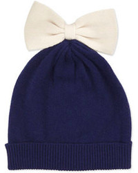 Kate Spade New York Colorblock Bow Beanie Navycream