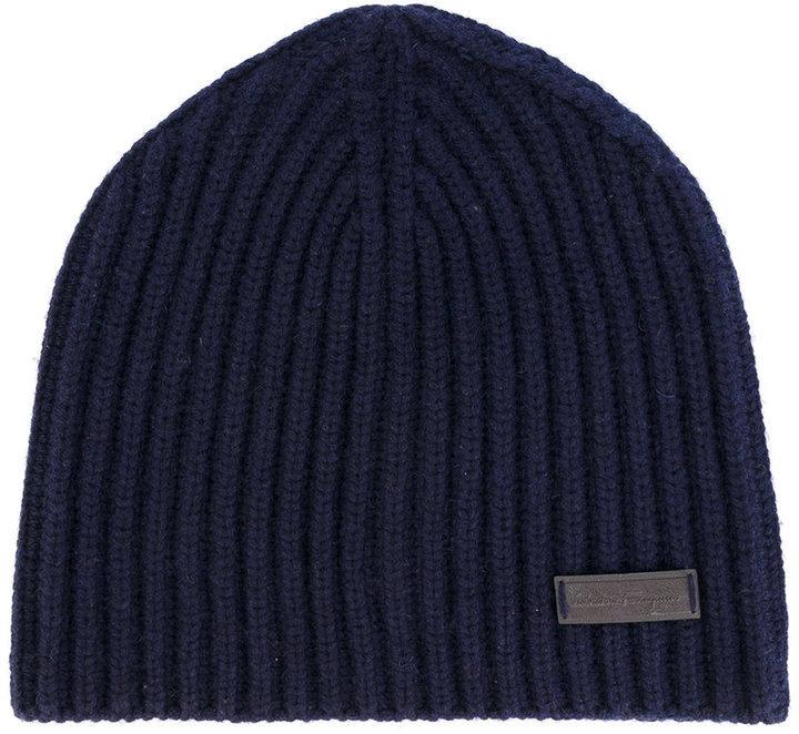 Salvatore Ferragamo Ribbed Beanie Hat