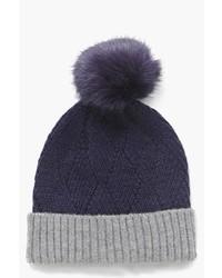 Boohoo Skye Fur Pom Ribbed Contrast Beanie Hat
