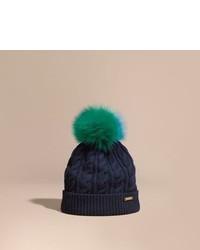 Burberry Wool Cashmere Beanie With Fur Pom Pom