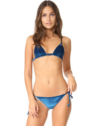 Fleur Du Mal Velour Triangle Bikini Top