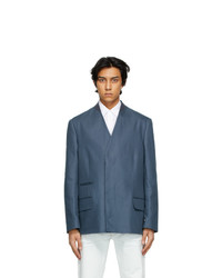 Maison Margiela Blue Collarless Blazer