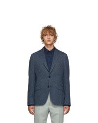 Etro Blue Morbida Regular Fit Blazer