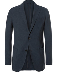 Ermenegildo Zegna Blue Slim Fit Puppytooth Woven Suit Jacket