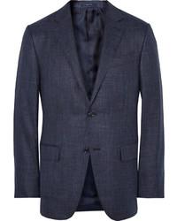 Ermenegildo Zegna Blue Slub Silk Cashmere And Linen Blend Blazer