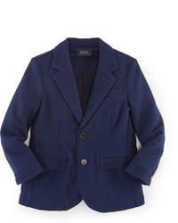Ralph Lauren Cotton Jersey Novelty Blazer Navy Size 2 7