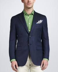 Kiton Herringbone Three Button Blazer Navy