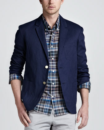 Vince Linen Cotton Blazer Navy