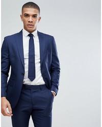 MOSS BROS Moss London Skinny Suit Jacket In Navy Sharkskin