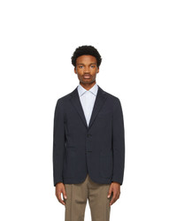 Ermenegildo Zegna Navy Cotton And Silk Blazer