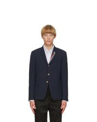 Thom Browne Navy Wool Seersucker Blazer