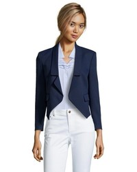 Rebecca Minkoff Navy Woven Florence Single Tab Cropped Blazer