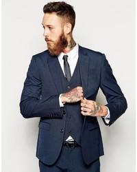 Asos Slim Fit Suit Jacket In Blue Pindot