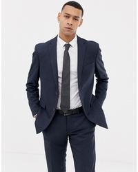 Esprit Slim Fit Suit Jacket In Blue Twisted Yarn